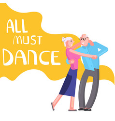 Banner happy elderly people dancing vector