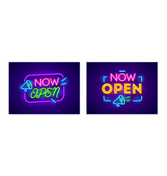banners now open concept sign for store shop vector image