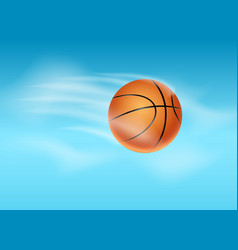 basketball ball flying background vector image