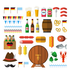 beer festival icons set oktoberfest holiday vector image