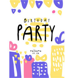 Birthday party colorful template with date can be vector