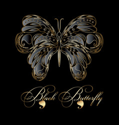 Black 3d butterfly vector