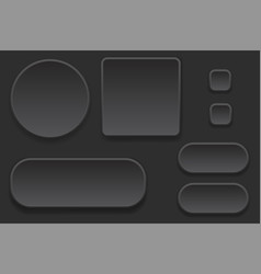 black blank buttons set of interface elements vector image