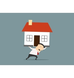 Businessman carrying a house on his back vector image