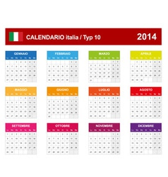 Calendar 2014 Italy Type 10 vector image