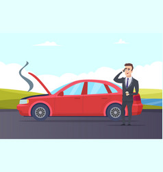 Car breakdown road assistance cartoon vector