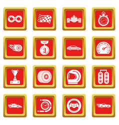 car race icons set red square vector image