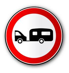 Caravan road traffic sign vector