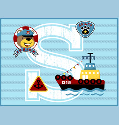 Cargo ship cartoon with funny sailor vector