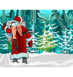 Caricature cartoon Santa Claus shouldered drunken vector