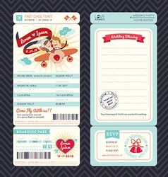 cartoon boarding pass ticket wedding invitation te vector image
