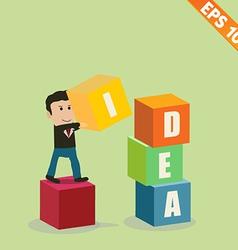 Cartoon Businessman stacking idea box - - EP vector image