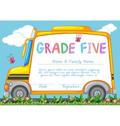 Certificate with background of schoolbus in the vector