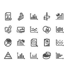 Charts and diagrams icons set of 3d chart block vector
