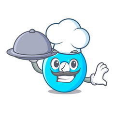 chef with food cartoon the number zero color blue vector image