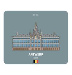 City hall in antwerp belgium vector