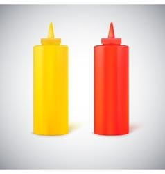 Close up bottles mustard and ketchup vector