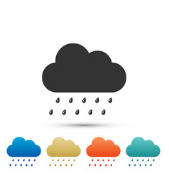 cloud with rain icon isolated on grey background vector image