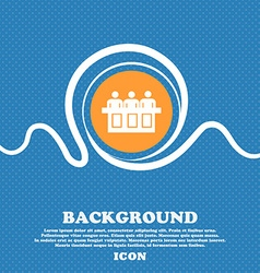 Conference icon sign Blue and white abstract vector image