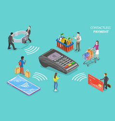 contactless payment flat isometric vector image