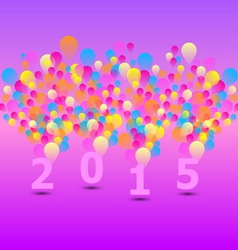 Created 2015 card with colorful balloon vector