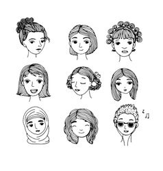 Different faces Hand drawing isolated objects vector