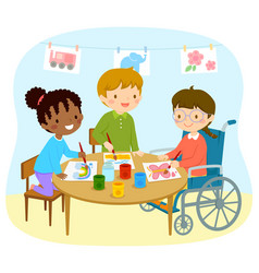 Disabled girl drawing with friends vector
