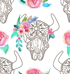 Doodle bull skull with watercolor flowers and vector image