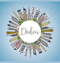 Dubai uae city skyline with gray buildings blue vector