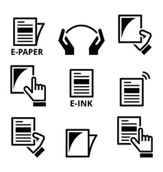 E-paper e-ink technology display device icons set vector