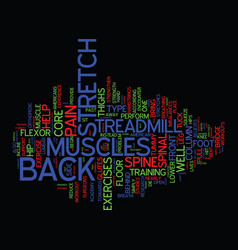 Exercise back pain away text background word vector