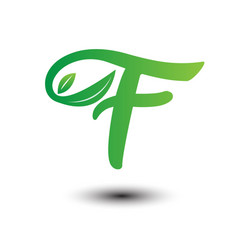 f green leaves letter ecology logo vector image