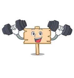 fitness wooden board character cartoon vector image