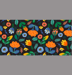 Folk floral seamless pattern modern abstract vector