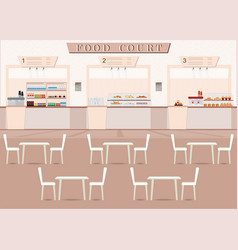 Food court in a shopping mall with food vector