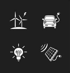 four flat eco icons vector image