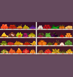fruits and vegetables at shop stall vector image
