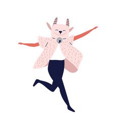funny dancing character in halloween masquerade vector image