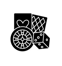 Gamble black icon sign on isolated vector