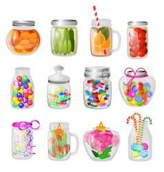 glass jar jam or sweet jelly in mason vector image