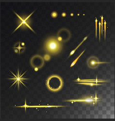Glowing lights stars glare and glow isolated vector