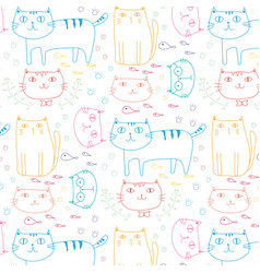hand drawn cats pattern background vector image
