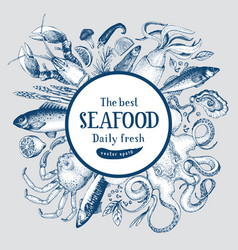 Hand drawn frame with seafood and fishes vector