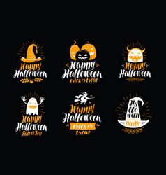 happy halloween greeting card holiday symbol or vector image