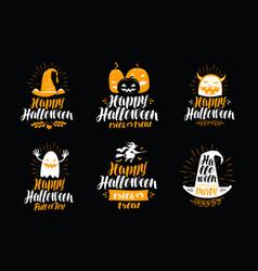 happy halloween greeting card holiday symbol vector image