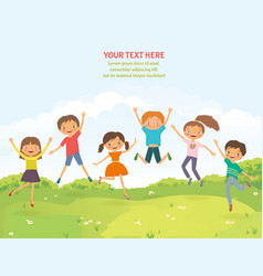 Happy jumping children in the summer background vector