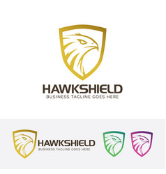 hawk shield logo design vector image