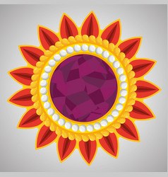 Hindu flower with petals and traditional design vector
