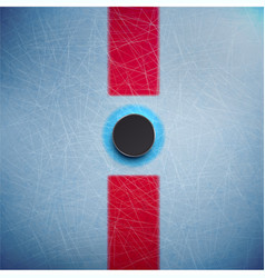 Hockey puck isolated on ice top view vector