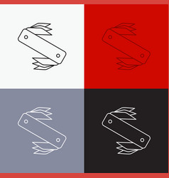 Knife army camping swiss pocket icon over various vector
